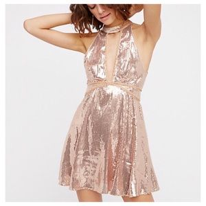 NWT Free People Sequin Rose Gold Dress size 0